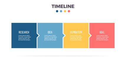 Business infographics. Timeline with 4 steps, options, squares. Vector template. Wall mural