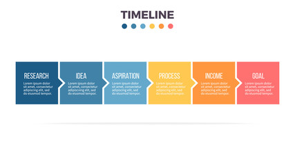 Business infographics. Timeline with 6 steps, options, squares. Vector template.