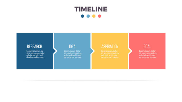 Business infographics. Timeline with 4 steps, options, squares. Vector template.