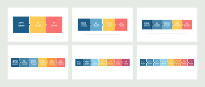 Business infographics. Timeline with 3, 4, 5, 6, 7, 8 steps, options, squares. Vector template.
