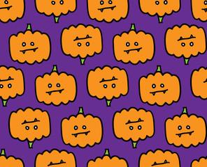 Halloween cute evil pumpkin pattern