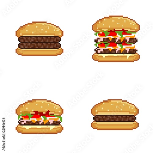 Burgers Icons Pixel Art Stock Photo And Royalty Free Images On