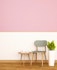 Living area in home or apartment on white ceramic wall and pink wall decorate - Relax area in Coffee shop or restaurant - 3D Illustration