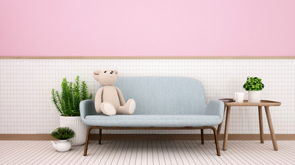 Living room in home or kid room on white ceramic wall and pink wall decorate - Teddy bear on blue sofa and relax area in living room or lobby - 3D Illustration