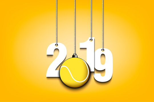 2019 New Year and tennis ball hanging on strings