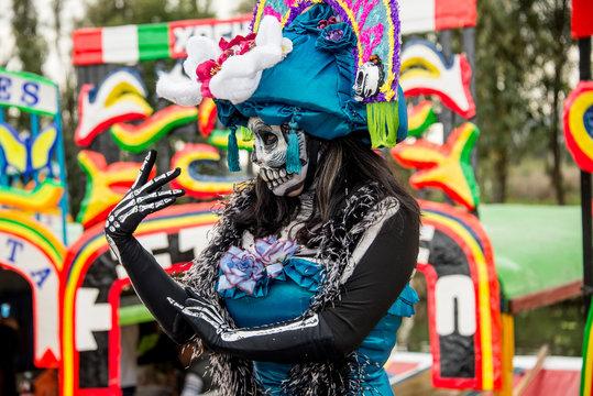 catrina mexicana dia de muertos embarcadero xochimilco