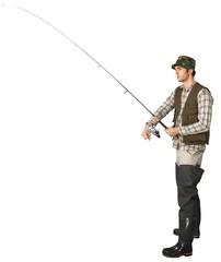 Fisherman Holding a Fishing Rod