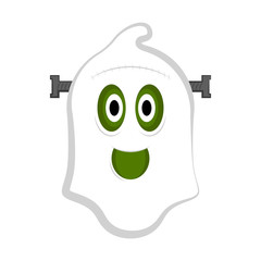Isolated cute halloween zombie ghost. Vector illustration design