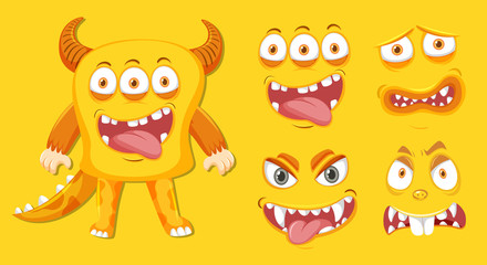 Yellow monster and facial expression