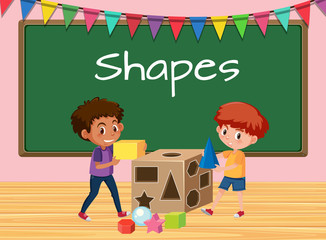 Boys in classoom with shapes lesson