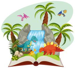 An open book of dinosaur