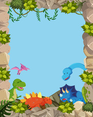 Nature cute dinosaur frame