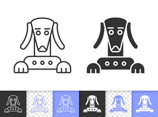 Robot Dog simple black line vector icon