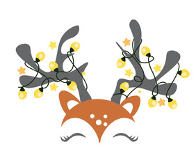 Cute Christmas reindeer face vector. Funny cartoon deer with decorative lights.
