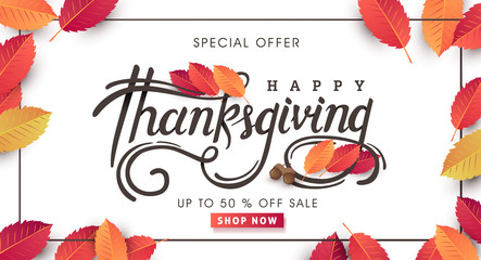 """Thanksgiving day banner background. Celebration quotation for card.vector illustration.Autumn season Calligraphy of """"Thanksgiving""""."""
