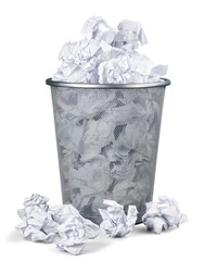Waste Basket Full of Crumpled Paper
