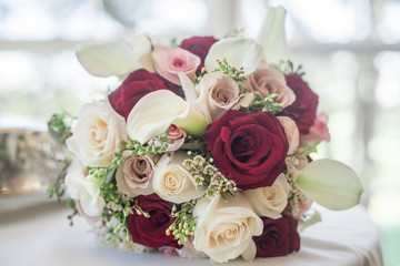 Red Pink & White Bridal Bouquet