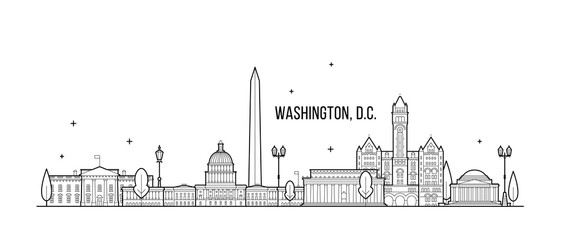 Wall Mural - Washington D. C. skyline USA city buildings vector
