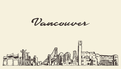 Fototapete - Vancouver skyline, Canada vector city drawn sketch