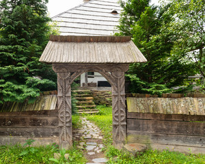 Traditional Wood Gate in Maramures Region in Northern Romania.