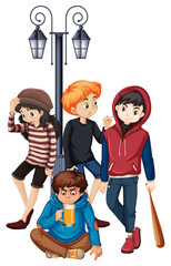Group of problem steet teenager