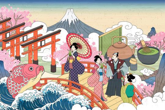 Ukiyo-e people enjoying tea