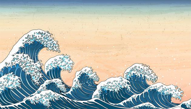 wave tides in Ukiyo-e style