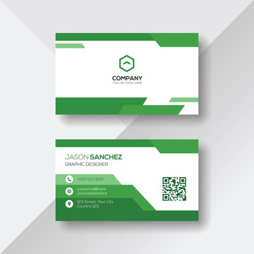Green and White Business Card Design Template