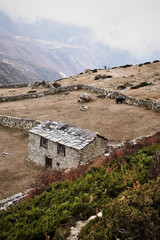 A stone house in the Himalayas