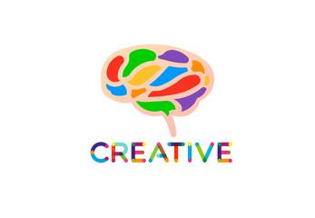 Creative and smart brain, vector logo