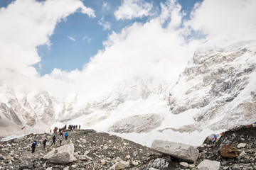 Trekkers at Everest Base Camp in the Himalayas