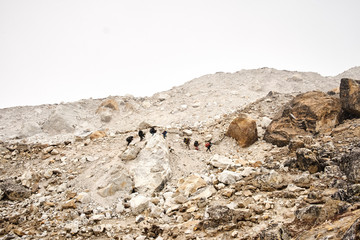A line of trekkers making their way towards Everest Base Camp