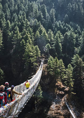 A suspension bridge in the Khumbu Valley of Everest Mountain