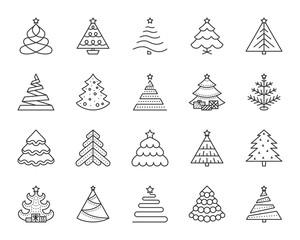 Christmas Tree simple black line icons vector set