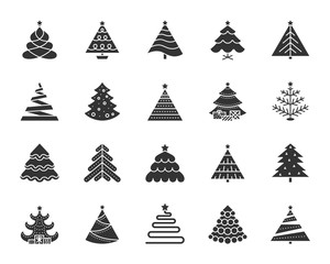 Christmas Tree black silhouette icons vector set
