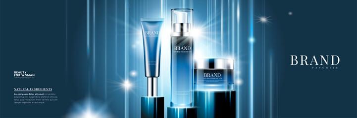 Fototapeta Cosmetic product set ads obraz