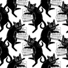 Smart black cat reading the magic book seamless pattern.