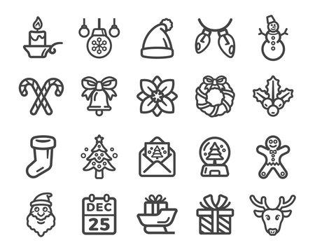 christmas,xmas thin line icon set,vector and illustration
