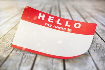 Red Hello My Name Is Tag with Copy Space, Isolated on White