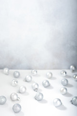 Defocused christmas background with silver christmas balls