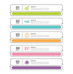 Infographics tab in horizontal thin line index with 5 data template. Vector illustration abstract background. Can be used for workflow layout, business step, banner, web design.