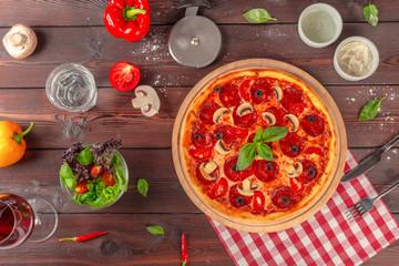 Hot Homemade Pepperoni Pizza