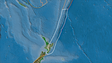 Outlined Kermadec tectonic plate and borders of adjacent plates on the physical map