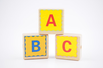 Toy block abc is on a white background.