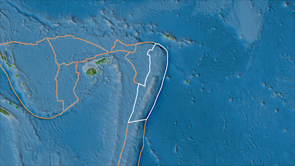 Outlined Tonga tectonic plate and borders of adjacent plates on the physical map