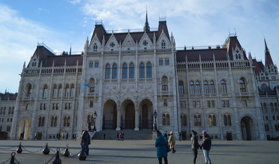 Exterior of Hungarian Parliament Building in Budapest on December 29, 2017.