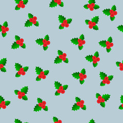 Vector Christmas and New year seamless mistletoe pattern card background