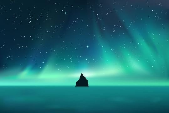 Dark rock against northern lights landscape with stars, starry sky with polar lights, mountain in fog, vector illustration
