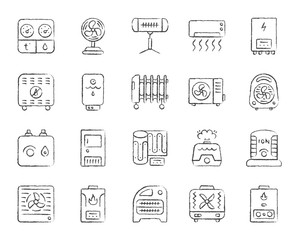Hvac charcoal draw line icons vector set