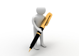3d man with pen